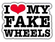 Me encanta mi falso Ruedas Automóvil Pegatinas Jdm Euro al ras de 130mm de ancho