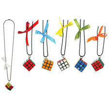 3 X 3 PUZZLE CUBE STYLE PENDANT & CHAIN - Rubix Cube with Bow by Joe Cool