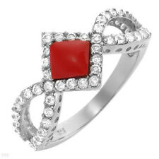 Lovely Ring W/1.20ctw Simulated Coral and Cubic zirconia in 25 Sterling Silver