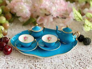 Crown Staffordshire MINIATURE Tea Tray Teapot Teacups, Saucers & Sugar Turquoise