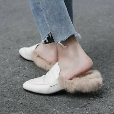 Women's Autumn Winter New Fur Trim Slippers Shoes Fashion Leather Low Heel Shoes