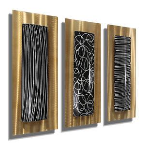 GOLD/BLACK/SILVER Metal Wall Art 3 Wall Scuptures Modern Home Decor Jon Allen