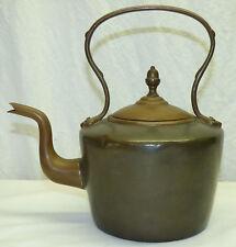Antique Dovetailed English Copper Kettle Teapot w/ Gooseneck Spout & Acorn Knob