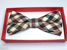 Children Kids Boy Toddler Pet Baby Child Brown Beige Black Scott Plaid Bow Tie