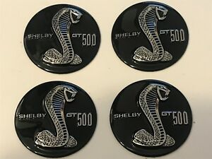 FORD MUSTANG SHELBY COBRA GT500 WHEEL RIM CENTER CAP EMBLEMS SET OF 4 EMBOSSED