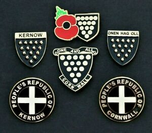 CORNWALL - KERNOW - ONE AND ALL - CORNISH CREST PIN LAPEL BADGES