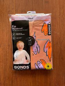 Bonds Baby Halloween Ghost Orange Zip Wondersuit Size 0 BNIP