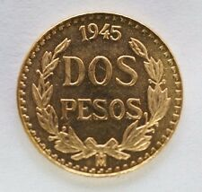 1945 Mexican Dos Pesos BU. Coin 90% Gold .0482 oz Actual Gold Weight - 2 Mexico