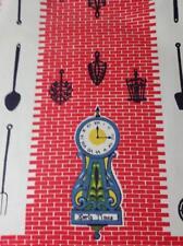 Vintage 1950s Kitchen Towel Cotton Printed Blue Clock Red Brick 15.5x27