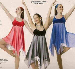 Lyrical Dance Costume Red  Artstone Ballet or Ballroom Dress Graceful