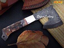 "8"" Custom Handmade Damascus Axe Steel Bolster, Sheep Horn handle"