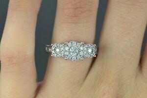 $1,895 UD Unique Designs 14K White Gold Cluster Round Diamond Engagement Ring