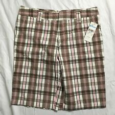Roxy Mandy Bermuda Shorts Size 9 Plaid Brown White Pink Cotton Casual NWT