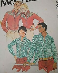 """Vintage 1970s McCall's Carefree Men's Shirt Sewing Pattern 6383 Chest 40"""" N15.5"""""""