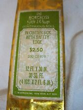 MIB Christmas Boxed Norcross Gold Foil Giftwrap Wrapping Paper 1960-70's
