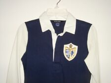 Ralph Lauren Rugby Polo Dress Girls M 8-10 Navy Blue white long sleeve patch