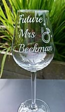 Future Mrs Engraved Wine Glass - Engagement,  Bride to Be - Personalised