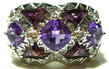 DESIGNER STERLING SILVER AMETHYST GARNET CRYSTAL TRIANGLE COCKTAIL RING BAND