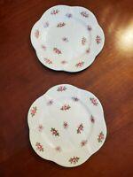Shelley Bone China Rosebud Dainty Bread & Butter Plates (lot of 2)