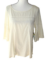 CeCe Size M Beige 3/4 Bell Sleeve Peasant Top - New