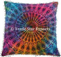 Indian Tie Dyed Mandala Euro Sham Pillow Cases Decorative Bohemian Cushion Cover
