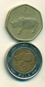 2-2 PULA COINS w/ RHINO..BOTSWANA..DATING 1991 & 2013..2 TYPES..2013 is BI-METAL
