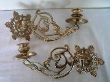 COPPIA Vintage Decorativa in Ottone CANDELIERE titolare candelabro da parete Pianoforte SWING ARM (B)
