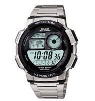 Casio Men's Quartz World Time Illuminator Silver-Tone 44mm Watch AE1000WD-1AV