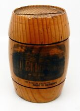 Antique Wooden Barrel Bank with Bank of England Scene Made in Germany