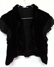 Handwritten Womens Bolero Schrug Black Velvet Everning Size S Open Italy Silk