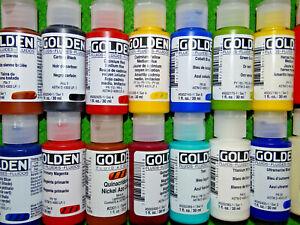 Golden Fluid Acrylic Paints, 1 oz. bottles, flat rate shipping, $4.50, 85 colors