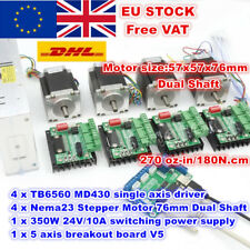 【No TAX】4 Axis Nema23 76mm Dual Shaft Stepper Motor+TB6560 MD430 Driver CNC Kit