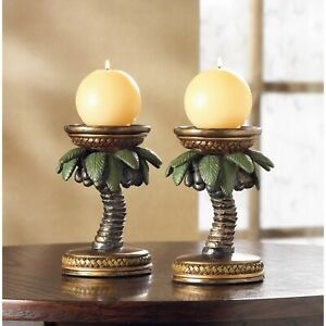 """COCONUT TREE CANDLE HOLDERS - 5"""" HIGH - POLYRESIN & IRON - MULTICOLOR"""