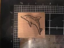 Dolphin wood mounted Rubber stamp some discolored damaged