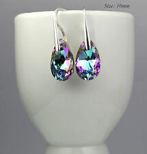 925 Sterling Silver Hook Earrings 16mm Pear/Almond Crystals from Swarovski®