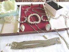 MIXED JOB LOT SILVER  COSTUME JEWELLERY,NECKLACES BRACELETS,EARRINGS,RING