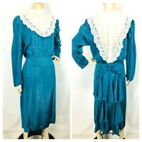 True Vintage 40's/50's Teal Brocade Lace Yoke Rear Ruffle Boho Prairie Dress
