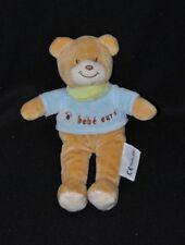 Peluche doudou bébé ours brun beige AMTOYS pull bleu bandana vert 20 cm TTBE