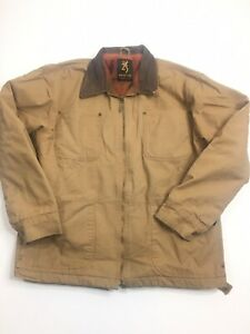 Browning Mens Medium Zip up Fleece lined-Jacket Brown With Leather Collar
