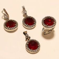 Sterling Silver Christmas Old Jewelry Gift Turkish Ruby Ring Earring Pendant 925