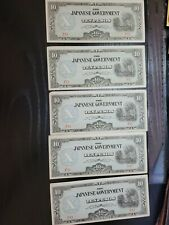 🇵🇭 Japanese  Philippines 10 pesos P-108 (qty 5) 1942 WWII Banknotes 072621-6