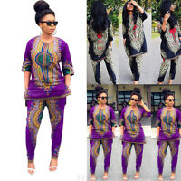 Fashion Women African Print Casual Straight Long two-piece suit Tops+Pants