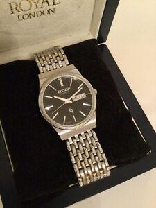 Vintage Gents Citizen Quartz CQ Bracelet Watch with French Calendar-91000244