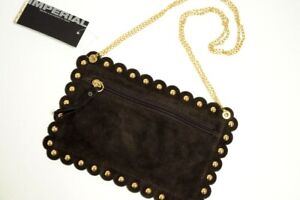 IMPERIAL ITALY suede leather studded crossbody bag