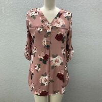 J for Justify Tunic Top Women's M Dusty Rose Floral Zip Pocket Roll Tab Sleeve