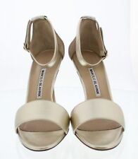 Manolo Blahnik TRES Tressa 105 Pale Gold HEELS PUMPS 38 US 7.5 8 Receipt