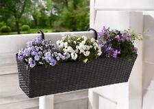 Balkonkasten Polyrattan Blumenkasten Pflanzer Pflanztopf Schwarz + Halterung NEU