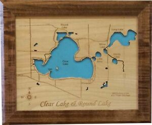 Round Lake and Clear Lake, Indiana - Laser Cut Wood Map