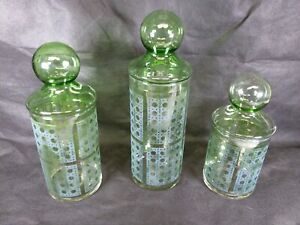 3 Vtg Mid Century Modern Faux Cane Green Glass Canister Vanity Candy Jar Lidded