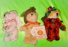 Lot of 3 1990-1998 Boyds Bears Collecrible Plush Bears Jointed Nice